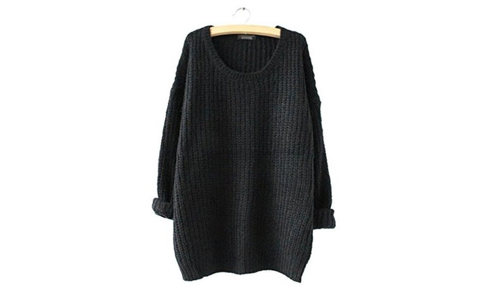 Women's Casual Oversized Crew Neck Pullover Sweater Knitwear Tops