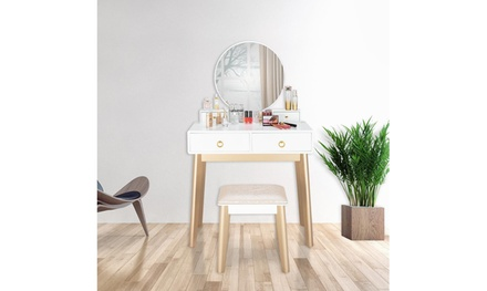 Vanity Table Set with Round Mirror for Bedroom Dressing Table with Stool