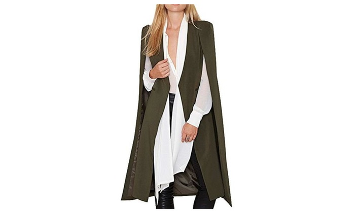 Diffyou Women's Unique Open Front Pocket Cloak Trench Coat Army Green