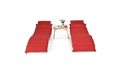 Costway 3PCS Wooden Folding Lounge Chair Set Cushion Pad Pool Deck