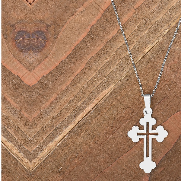 Italian Cut Out Crucifix Pendant Necklace in Solid Sterling Silver