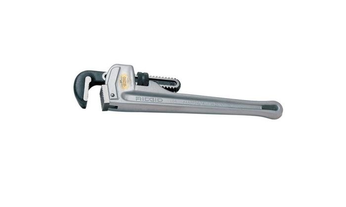 "Ridgid 31100 Aluminum Straight Handle Pipe Wrench, 18"""
