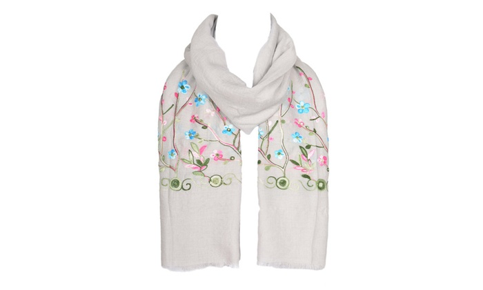 Womens Premium Embroidery Floral Style LightWeight Stylish Stole Scarf