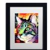 Dean Russo 'Curiosity Cat' Matted Black Framed Art