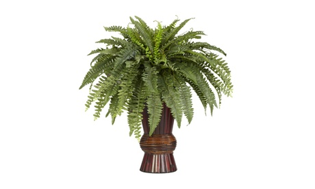 Nearly Natural Boston Fern w/Bamboo Vase Silk Plant d158fae0-c767-482b-a5b7-be231f03925f