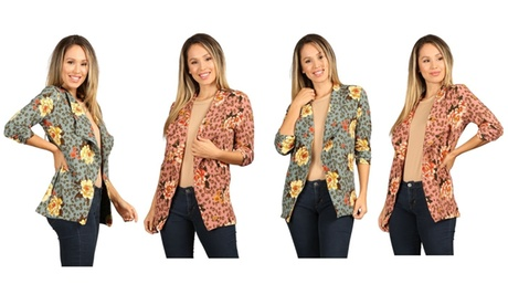 Women's Print, Fitted, Open Blazer With Ruched Detailed Sleeves