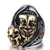 Crystal Punk Skulls Design Stainless Steel Ring for men
