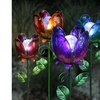 Solar-Powered Glass Flower Garden Stake