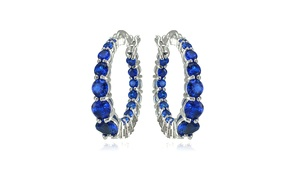 Sterling Silver Created Blue Sapphire Journey Inside Out Round Hoop Earrings