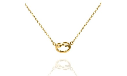Sleek Intertwined Pretzel Shape Pendant Necklace in 14K Gold - Two Options Was: $69.95 Now: $11.99