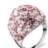 Multicolor Stainless steel Austrian Crystal Engagement Ring