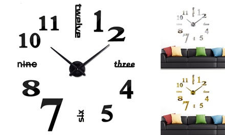Large 3D Frameless Wall Clock Stickers DIY Wall Decor for Living Room Bedroom