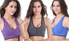 Women's Seamless Wirefree Zipper Front Racerback Sports Bra Strap Set ( 3-Pack)