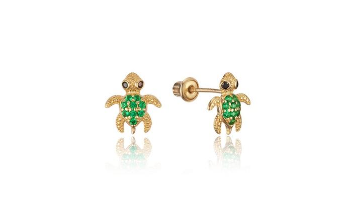 f23ab75cd 14k Yellow Gold Green Turtle Stud Children Screwback Girls Earrings    Groupon
