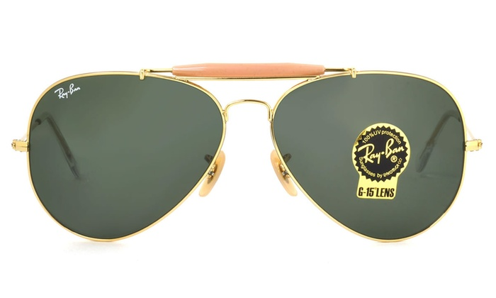 a1c0030e19179 Ray Ban Outdoorsman II Men Sunglasses RB3029 L2112 62 Gold   Green Classic  G-15