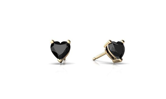 14kt Yellow Gold Black Onyx 5mm Heart Stud Earrings