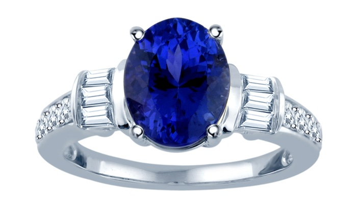 3 25 Cttw Tanzanite And Diamond Ring In 14k Gold