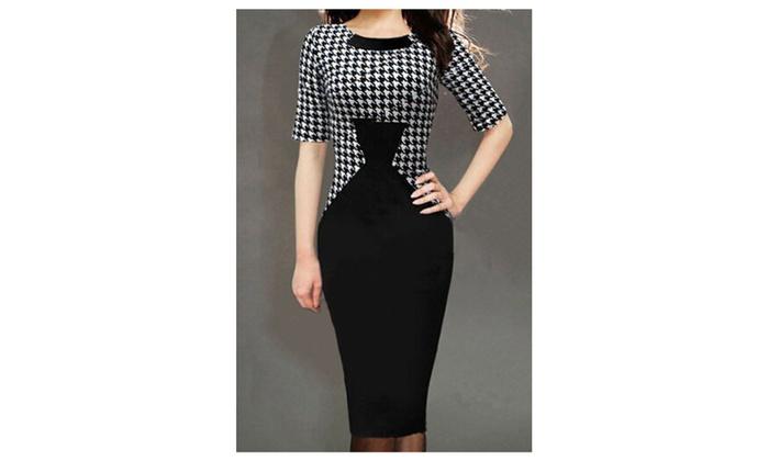 Women's Thin Waist Pencil Skirt Knee Length Dress Black - JPWD193
