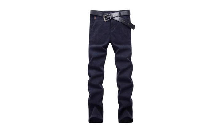 Men's Fashion ZipUpwithButtonClosure Solid Pants