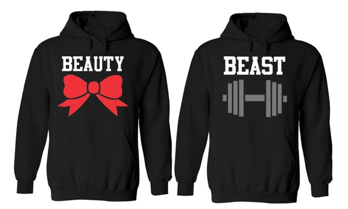 Beast Beauty Couple Matching Black Hoodies