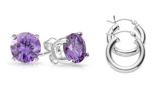 Genuine Gemstone Amethyst Studs and Hoop Earrings Set by Gemma Luna