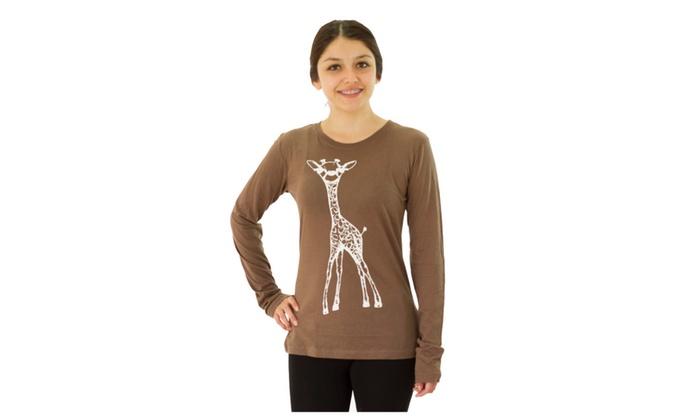 ThreeForTwelve White Giraffe Junior's Brown T-shirt NEW
