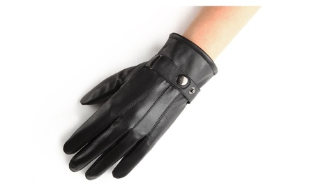 Men's PU Leather Gloves Motorcycle Winter Gloves - Black 4f748e51-7f3c-490b-b1ea-988c090105b3