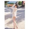 Women Lace Decorated Deep Neck Beachwear White - JPWB866