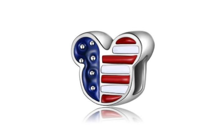 947da4b88 Mickey Mouse Patriotic American Flag Pandora Style Charm | Groupon