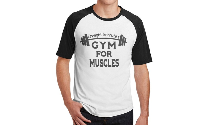 b072f0a6 Cathy Tee Dwight Schrute's Gym for Muscles Men's Short Sleeve Baseball T- Shirts
