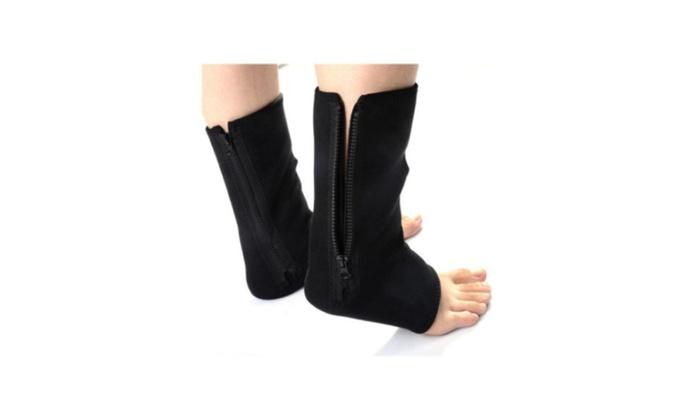 Set of 2 Black Adjustable Ankle Foot Compression Sprain Brace