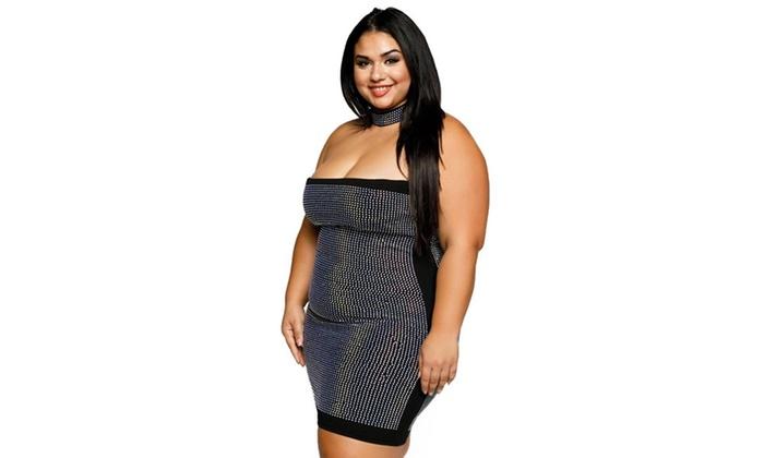 Xehar Womens Plus Size Sexy Tube Rhinestone Studded Choker Mini