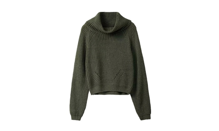 Women's Casual Solid Ribbing Cuffs Pullover Sweater