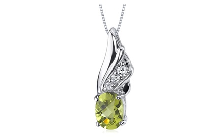 Peridot Pendant Necklace Sterling Silver Oval Shape 1.25 Carats SP9164