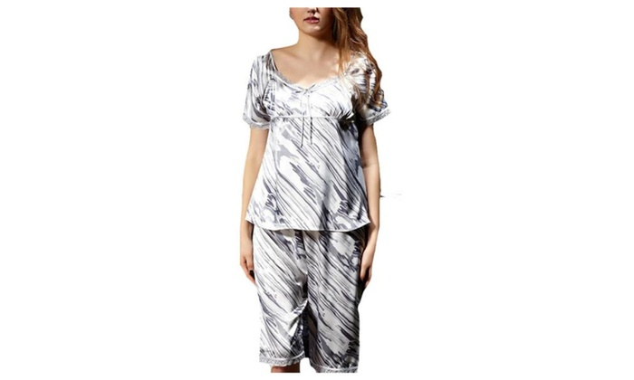 Women's Regular Fit Slips on Over Head Long Pajamas Set