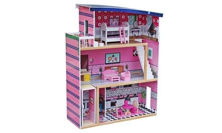 8 pcs Wooden Children Kids Furniture Girls Pretend Play Toy Doll House
