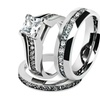 His & Hers Stainless Steel 2.10 Ct Cz Bridal Set & Men's Eternity Band