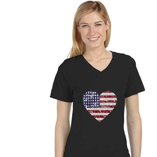 Ladies XS V-Neck Patriotic Tee