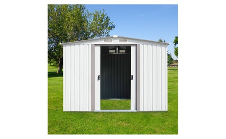 6' x 8' Outdoor White Steel Garden Storage Utility Tool Shed Backyard 7bf2ab86-661f-451d-9fef-e87e79126282