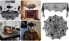 Halloween Lace Spider Web Fireplace Mantle Scarf Cover Tablecloth Decor