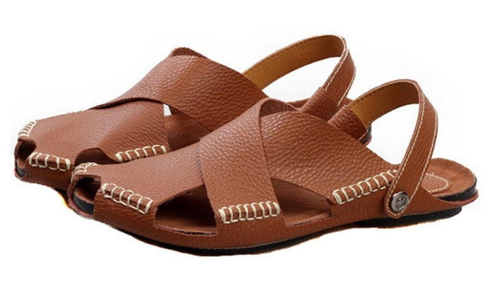 Men's Leather Slippers Sandals