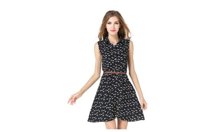 Women's Printed Half Placket Above Knee Sleeveless Belted Dress