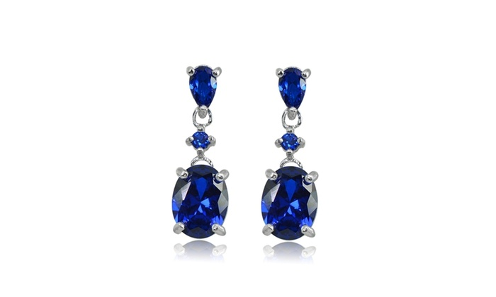Round Brilliant Cut Lab Created Blue Sapphire 925 Sterling Silver Stud Earrings