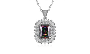 Emerald Cut Mystic Topaz & Baguette Crystals Necklace