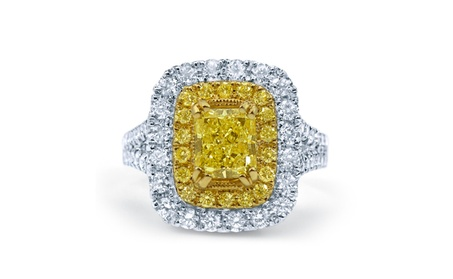 18 karat white gold ring with Fancy yellow gold cup to enhance Radiant 6262e097-aeff-40d1-adee-90fbee5d0f33