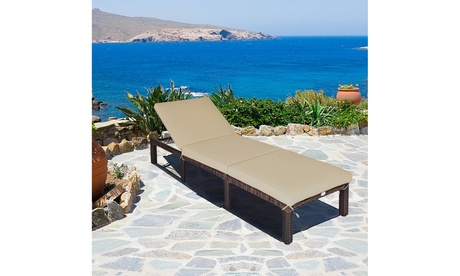 Costway Patio Rattan Chaise Lounge Chair Recliner Outdoor w/ 6 Positions Cushion