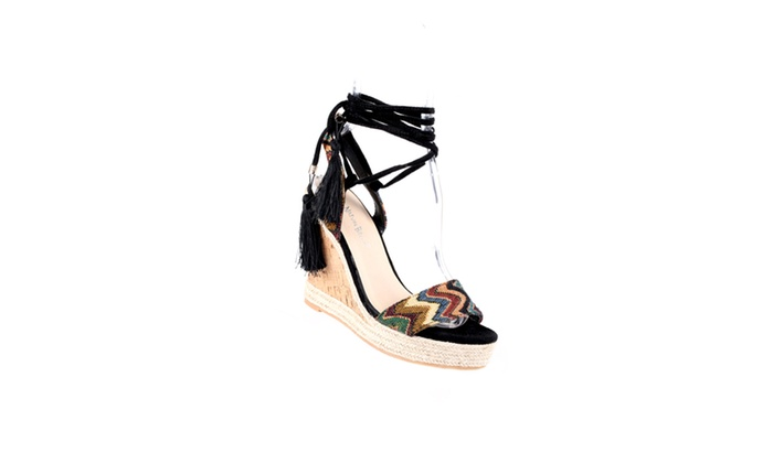 Xehar Women's Lace Up Ankle Strap TasselWedge Heel Sandal