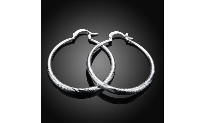 ba8b237d8 Sleek Silver Classic Women's French Lock Hoops Sterling Silver Hoop