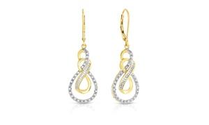 1/4cttw Diamond Infinity Drop Earrings in Gold over Brass