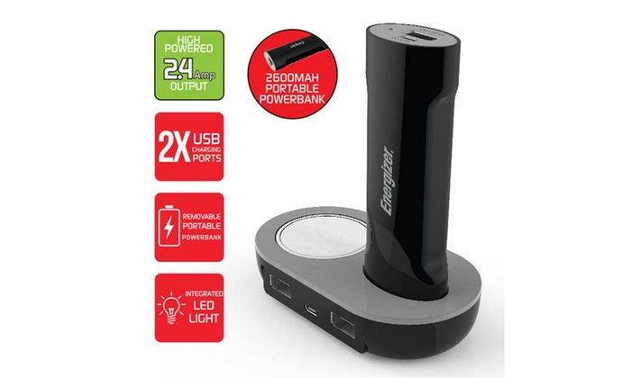 Energizer Charging Dock w/Dual USB Charger & 2200mAh Portable